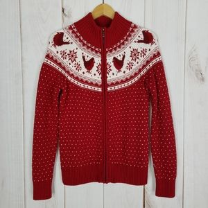 Talbots Christmas Nordic Red White Zipper Sweater